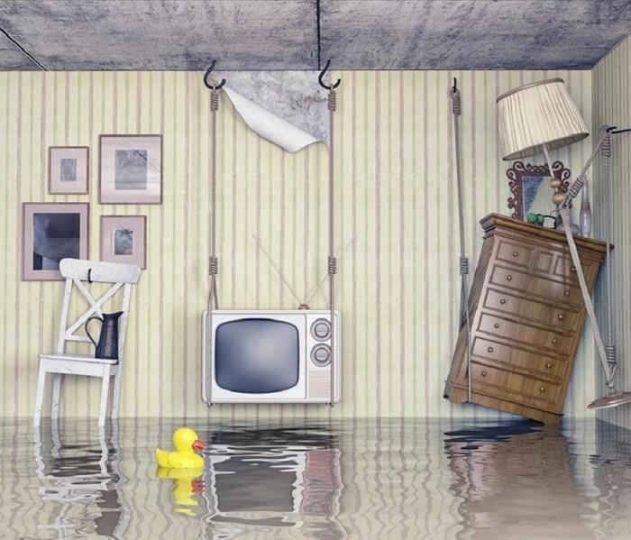flooding inside yellow room with tv, chair, lamp and dresser held above water by ropes